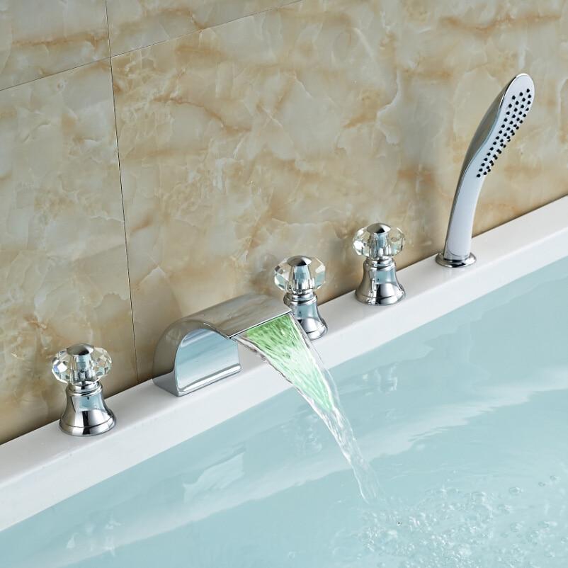Modern Cristal Handle LED Light Bathtub Faucet Set 5pcs Deck Mount Curve Spout Mixer Taps for Bathroom<br><br>Aliexpress
