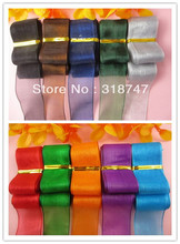 "1""(25-27mm) width Mix 5 colors organza ribbon for packing and bow 10yards/lot 040021002"