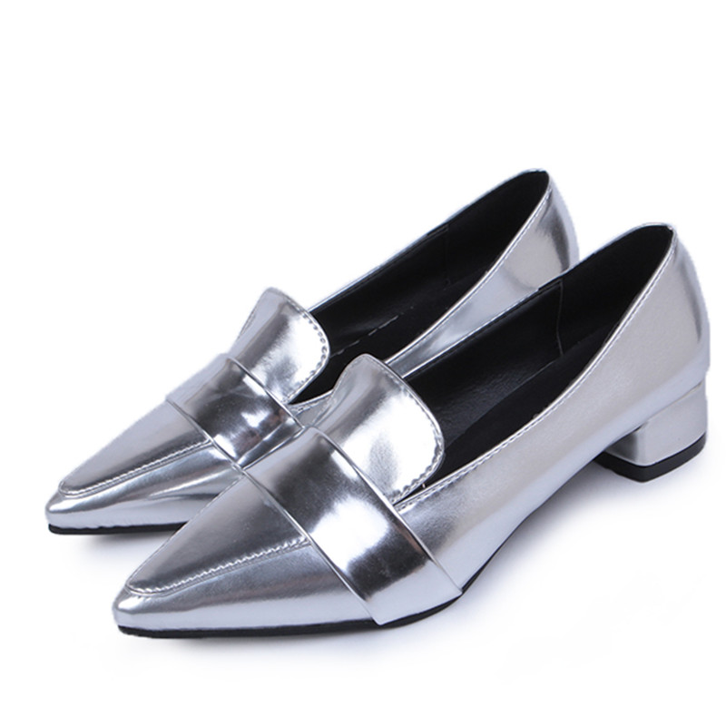 2017 Spring Flats Shoes Women Casual Square Heel Pointed Toe Silver/Black Leather Office Shoes Ladies Small Size Career Shoes <br><br>Aliexpress