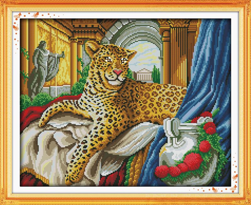 tiger new cross stitch kit free shippingusa joy sunday king back