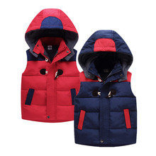 2017 Winter Warm Fleece Hoodies Baby Girls Vest Coat Boys New Patchwork Thick Cotton-padded Outwear Kids Children Clothing(China)