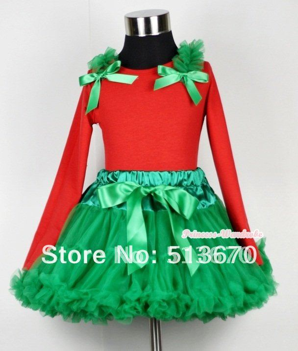 Christmas Kelly Green Pettiskirt with Matching Red Long Sleeves Top with &amp; Kelly Green Ruffles &amp; Kelly Green Bow MAMB07<br>