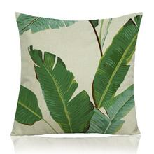 American Style Plant Double Cactus Banana Leaf Printing Soft Short Plush Throw Pillow Home Sofa Chair Backrest Cushion