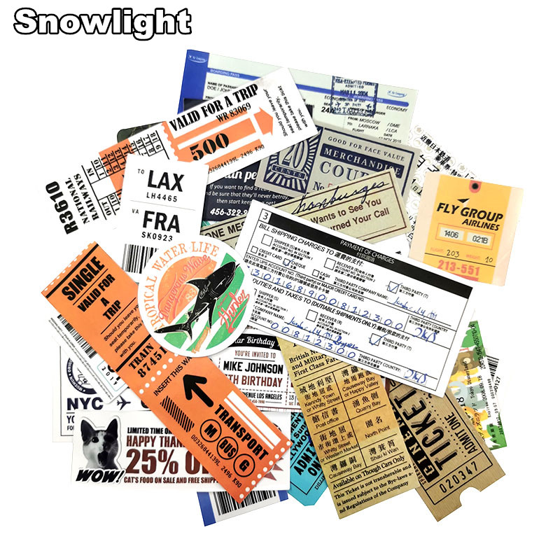 25pcs/lot Retro Air Ticket Invoice Stamps Sticker For Laptop Car Motorcycle Bicycles Phone Vinyl Sticker PVC Decals Stickers