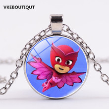 3/Color New Pj cartoon masks Catboy Owlette Gekko Cloak 2017 New Necklace With Glass Pendant Gift Anime Kids Action Figures Toys