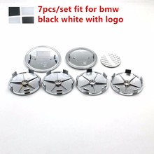 7pcs/set Black white carbon fiber Front Hood Emblem 82mm+Rear Badge 74mm+4 Wheel Hub Cap 68mm+steering wheel sticker 45mm(China)