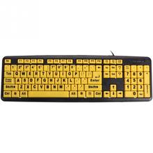 Yellow Keys Black Letter ABS Professional Large Print Elderly USB PC Computer Game Gaming Keyboard For Old People(China)