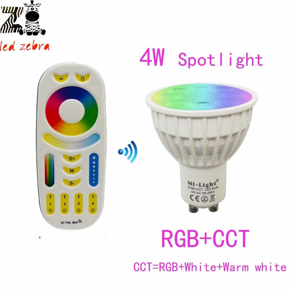 mi.light 2.4G GU10 4w RGB CCT led bulb lamp,4w led dimmable spotlight AC85-265V+mi.light rgb cct remote controller<br><br>Aliexpress