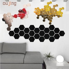 JY 21  Mosunx Business 2016 Hot Selling  12Pcs 3D Mirror Hexagon Vinyl Removable Wall Sticker Decal Home Decor Art DIY