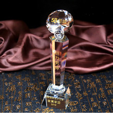 Customized Crystal Glass Diamond Miniature Carving Letters Logos European Football Match Crafts Home Decoration Accessories(China)