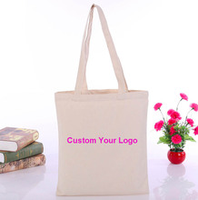 100 pcs/lot Customized Logo Tote Bag Cotton Women Shopping Bag Casual Plain Nature Cotton Canvas Shoulder Bags No Zipper(China)