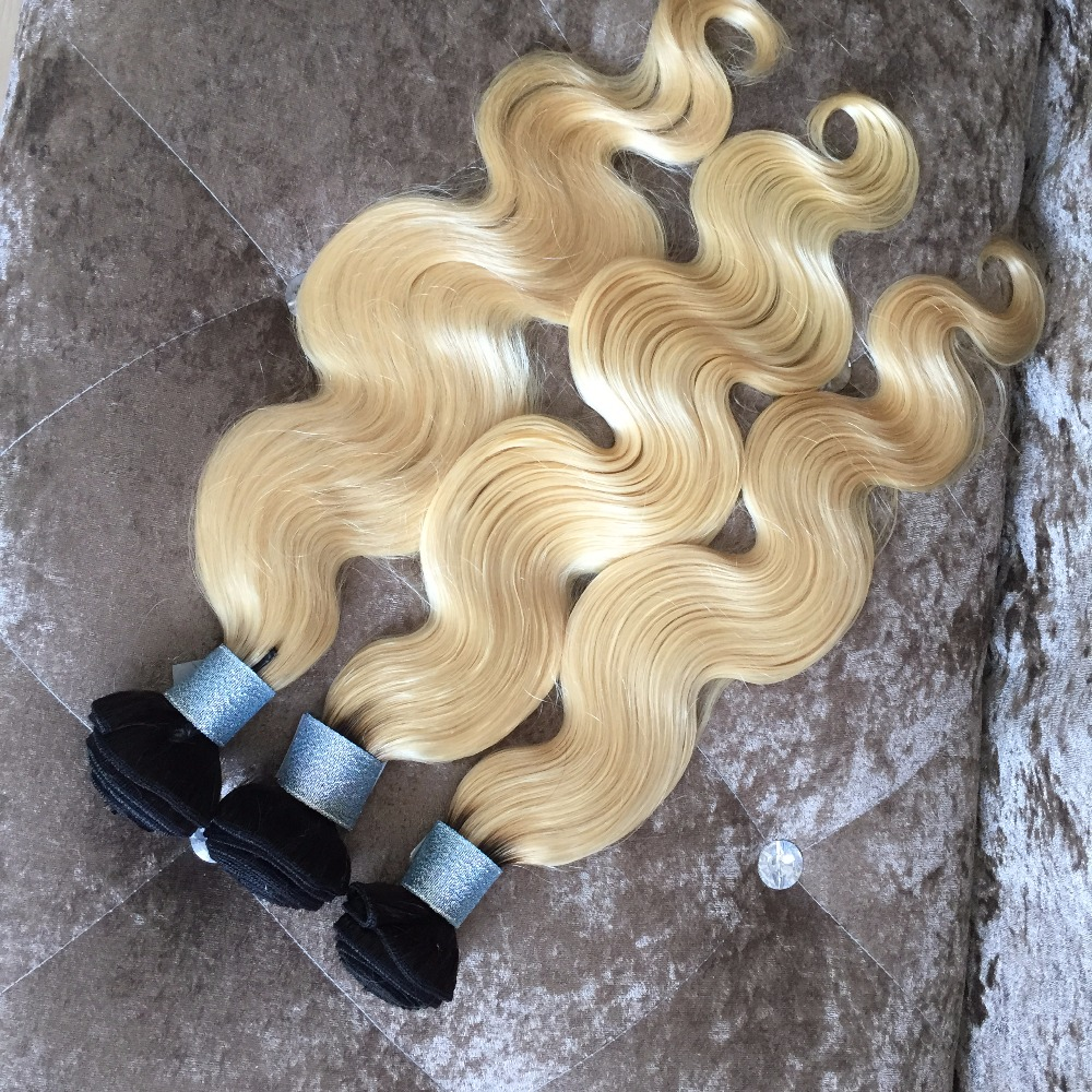 9A grade 613 Blonde Virgin Hair  Dark Roots Blond Hair Extensions Brazilian Virgin Hair Body Wave 100% Human Hair Weave<br><br>Aliexpress