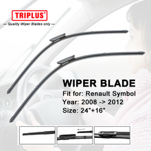 "Front Wiper Blade for Renault Symbol (2008-2012) 1 set 24""+16"",Flat Aero Windscreen Wiper,Boneless Windshield Soft Wiper Blade"