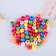 New 50Pcs Mix Colorful Flower Wooden Beads Wood Spacer Bads 13mm Toys For Baby Smooth DIY Jewelry Findings Making(China)