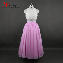 2017 Evening Prom Dresses Pink Two Pieces Full Of Pearls Amazing Chiffon Tea Length Aramex Vintage Heavy Beads LIYATT(China)
