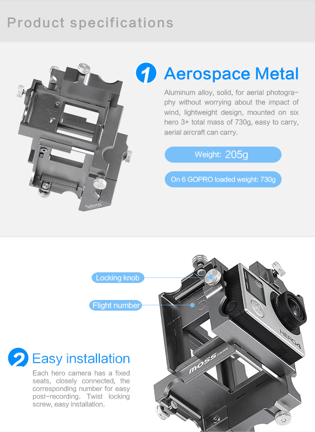 360 Degree Panoramic Aluminium Holder For GoPro Hero 3+4 Sj5000 Xiaomi Yi Spherical Sport Camera Accessories Action Video Mount (12)