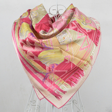 2016 New Arrival Pink Chain Silk Scarf Women Hot Sale 90*90cm 100% Natural Silk Twill Square Scarf  Printed For autumn,winter