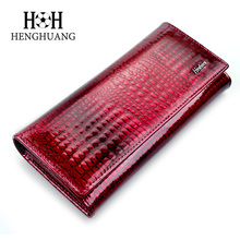 2017 Wallet Women Luxury Brand Alligator Genuine Leather Wallet HH High Quality Crocodile Cow Leather Women Wallets and Purses
