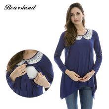 Maternity Nursing top Fashion Maternity Clothes Breast feeding Tops&T-shirt for Pregnant  Women Comfortable Modal lace patchwork(China)