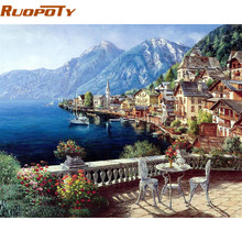 RUOPOTY Austria Town Landscape DIY Painting By Numbers Modern Wall Art Canvas Painting Home Decoration For Unique Gift 40x50cm(China)