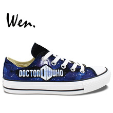 Wen Unisex Hand Painted Casual Shoes Custom Design Doctor Who Logo Low Top Canvas Shoes Custom Christmas Gifts Birthday Gifts(China)