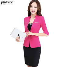 2016 spring career business women skirt suit elegant Slim half sleeve blazer with skirt office ladies plus size work uniforms