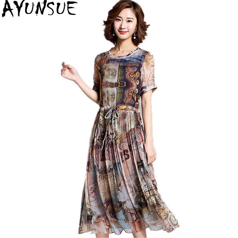 AYUNSUE 2018 100% Real Silk Dress Women Spring Summer Vintage Printing Long Dresses Natural Silk Fabric Vestido Casual  Z18X092