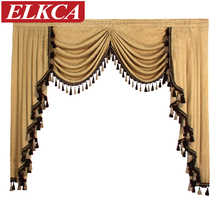 1 Piece European Luxury Valances for Living Room Waterfall Valances for Kitchen Modern Curtains for Living Room Swag Valances(China)