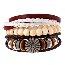 MYTHIC AGE Hand Made Braided Wrap Genuine Leather Beads Bracelet Set For Men Women Cuff Jewelry Accessories