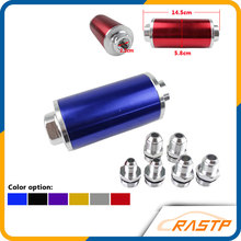 RASTP-Aluminum High Flow Fuel Filter Black with 100 Micron Element Steel SS High Pressure Performance With 3 Fittings LS-FP002(China)