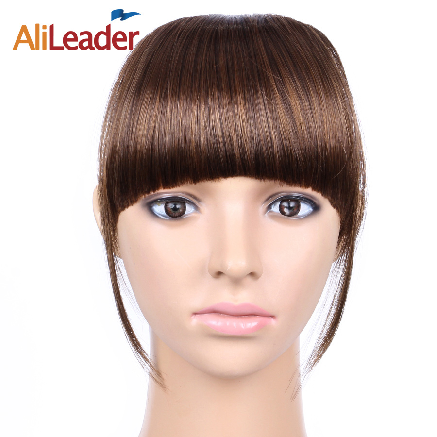 AliLeader False Bangs Hairpiece Women, Black Brown Blonde Synthetic Hair Clip Fringe Extensions