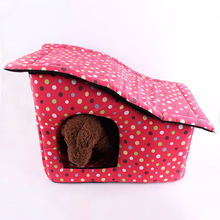 Big Dot Fabric with Bevelled Pet House Dog Bed Pet Bed Warm Soft Dogs Kennel Dog House Pet Sleeping Bag Cat Bed Cat House