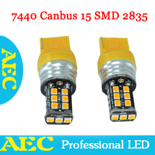10X T20 7440 W21W Canbus 0.25A 15 SMD 2835 LED no error 15SMD Bulb White Red Blue Amber Turn signal Reverse Light Bulb lamp 12V