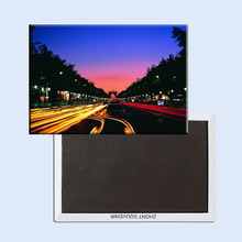 Metal Wrapped Magnets Free Shipping,Paris Champs Elysee Night View Landscape Fridge Magnet 5502 Tourism Souvenir(Hong Kong,China)