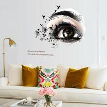 Charming Fairy Girl Eye Wall Sticker For Kids Rooms Flower butterfly LOVE heart Wall Decal Bedroom Sofa Decoration Wall Art #35(China)