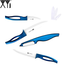 High Quality Ceramic Knife Set 3 5 6 Inch White Blade Blue Handle New Zirconium Oxide Ceramic Kitchen Knives XYJ Cooking Tools(China)