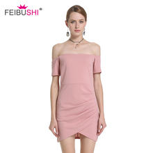 Buy FEIBUSHI Women Pink Shoulder Short Sleeve Sexy Dresses Party Night Club Dress Dresses Bodycon Sheath Elegant Mini Dress for $18.27 in AliExpress store