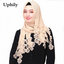 big 180*85cm Nice Colored super bubble chiffon laser cut floral hollow shawls hijab popular muslim long scarves/scarf(China)
