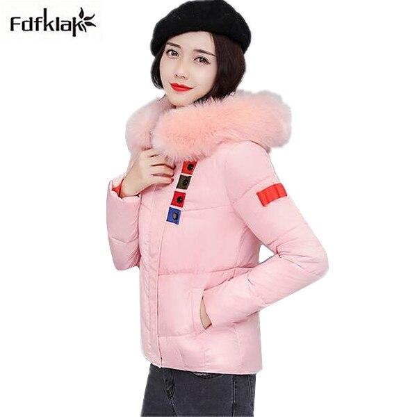 Fashion new winter jacket women short style cotton-padded winter coat hooded fur collar female jacket thick warm parka women  Îäåæäà è àêñåññóàðû<br><br>