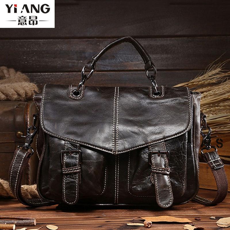 2018 New Men Vintage Oil wax Genuine Leather Cowhide High Quality Handbag Briefcase Business Messenger Shoulder Bag handbags<br>