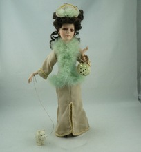 Cosette New Home Decoration Collect Green Dress Realistic Braids Pincess Angel Porcelain Doll