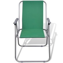 iKayaa Set of 2 Folding Chairs Green for Camping Open Air Outdoor Chair FR Stock