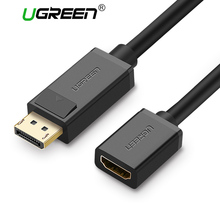 Ugreen Displayport DP Male to HDMI Female Cable Converter Adapter Video DP to HDMI Cable for Projector Display Laptop TV(China)