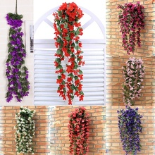 New Artificial Flowers Violet Hanging Vine Flowers Garland Flowers for Decoration Home Decoration Accessories Wedding Decoration(China)