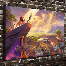H1215 Thomas Kinkade The Lion King, HD Canvas Print Home decoration Living Room bedroom Wall pictures Art painting(China)