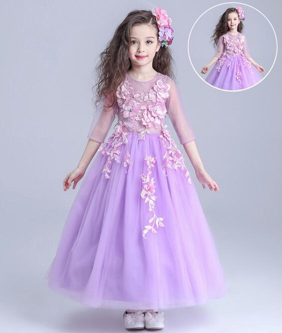 3-14T Autumn Flowers Pearls Girls Dress Girls Clothing Princess Party Birthday Dovetail Dresses Girl Costume Kids Purple<br>