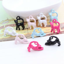 Free Ship New Cute 10 Pieces 15x18mm Zinc Alloy Metal White Black Pink Blue Hot Pink Enamel 3D Cat Charms Metal Pendant Finding