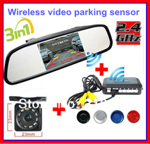 "Wireless Car Rear view Kit 4.3"" TFT LCD vehicle SCREEN Monitor+170 Wide degree mini Reverse backup camera Parking Sensor 4 radar"
