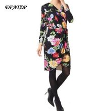 New 2017 Spring Summer Fashion Designer Brand Dress Women's Long Sleeves Black flowers Print XXL Stretch Jersey Silk Day Dress(China)