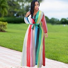 526f0b483cc 2018 Autumn New Women V-Neck Chiffon Dress Sashes Rainbow Striped Lace-Up  Beach Dress Bohemian Party Holiday Plus Size Dresses